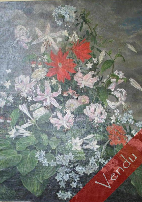 Composition florale, huile sur toile