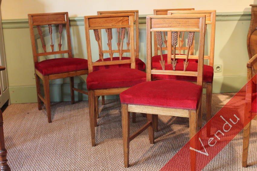 Ensemble de six chaises et fauteuil