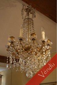 lustre bronze et cristal